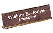 "28G - 2"" x 8"" Engraved Plastic Desk Nameplate w/Gold Holder"